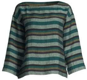 Eileen Fisher Stripe Organic Linen Trapeze Top