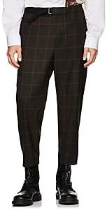 Oamc Men's Checked Wool Crop Trousers - Green