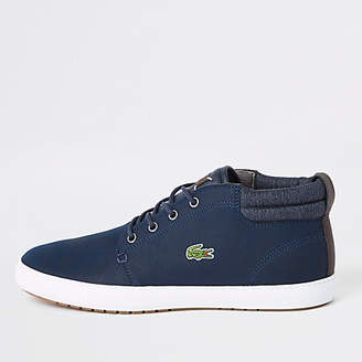 River Island Lacoste navy leather mid top sneakers