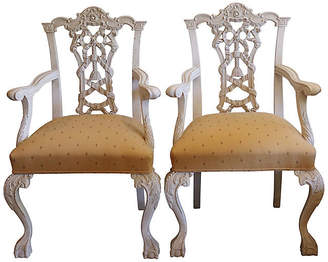 One Kings Lane Vintage 1960s Italian Hand-Carved Chairs - Set of 2 - Rose Victoria