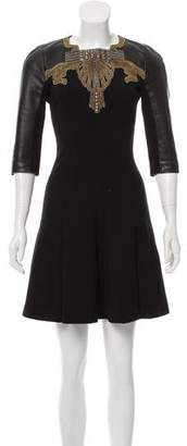 Andrew Gn Leather-Trimmed Mini Dress