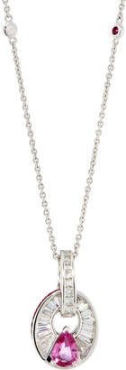 Diana M. Jewels 18k White Gold Diamond & Pink Sapphire Pendant Necklace