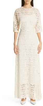 Mansur Gavriel Guipure Lace Long Sheath Dress