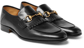 Gucci Harbor Horsebit Fringed Leather Loafers