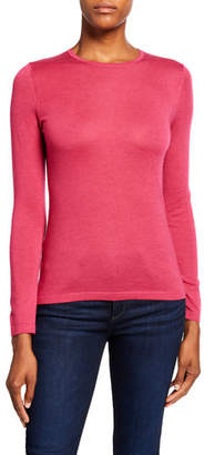 Neiman Marcus Crewneck Long-Sleeve Superfine Cashmere Sweater