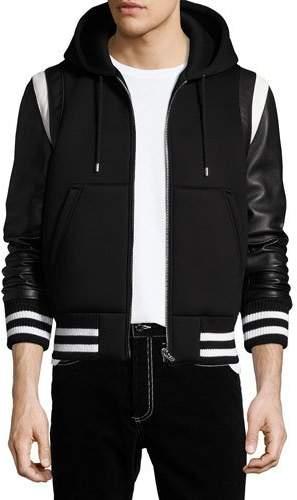 Givenchy Leather-Sleeve Neoprene Hooded Jacket