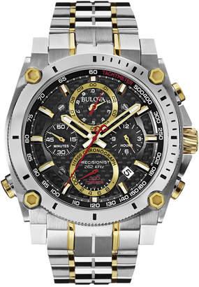 Bulova Men Chronograph Precisionist Two-Tone Stainless Steel Bracelet Watch 47mm 98B228