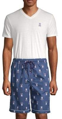 Psycho Bunny Two-Piece V-Neck Tee and Printed Shorts