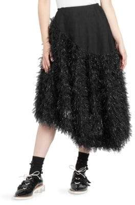 Simone Rocha Metallic Feather Organza Midi Skirt
