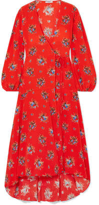 Ganni Kochhar Floral-print Washed-silk Wrap Dress - Red