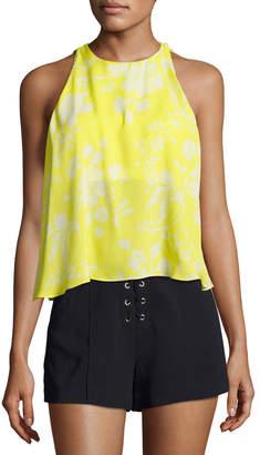 A.L.C. Jasper Silk Sleeveless Top, Yellow Pattern