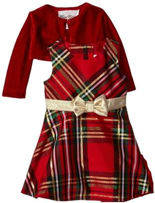 Rare Editions Little Girls Plaid Bow and Velvet Jacket Holiday Dress