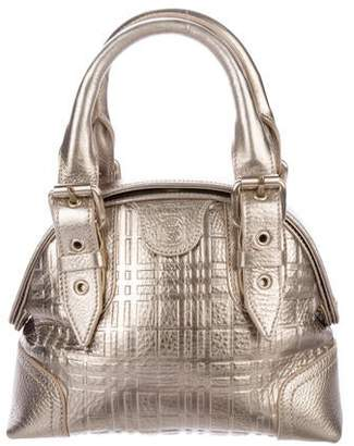 Burberry Metallic Check Top Handle Bag
