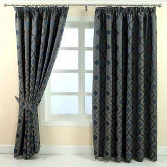 Homescapes Blue Jacquard Curtain Modern Wave Pattern Fully Lined - 66 X 72 Drop