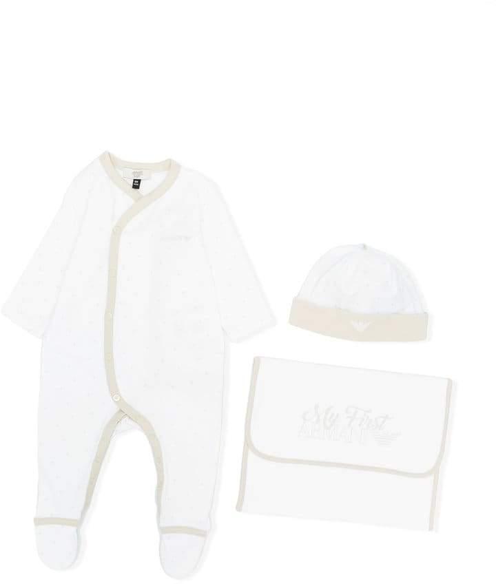 logo print pyjama, beanie and pouch