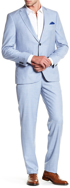 Ben Sherman Ben Sherman Wreng Blue Woven Two Button Notch Lapel Suit