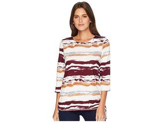 FDJ French Dressing Jeans Water Color Stripe Print 3/4 Sleeve Top