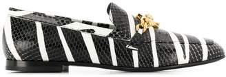Versace zebra print Medusa buckle loafers