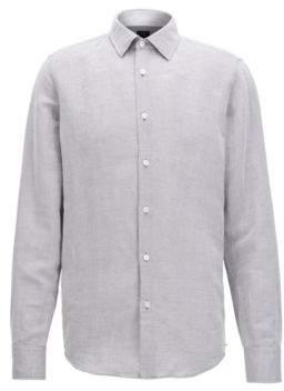 BOSS Hugo Cotton Linen Sport Shirt T-Landon F M Open Grey