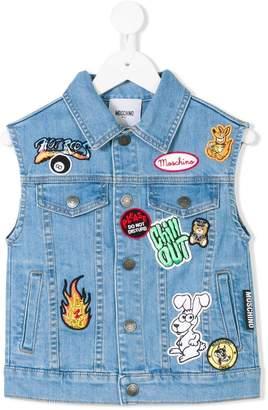 Moschino Kids patchwork denim waistcoat