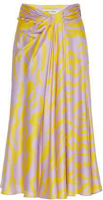 Prabal Gurung Moore Printed Draped Silk Skirt