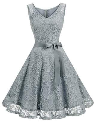 Dressystar Women Floral Lace Bridesmaid Party Dress Short Prom Dress V Neck S