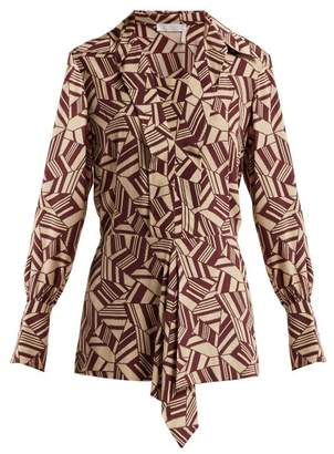 Chloé - Geometric Print Silk Blouse - Womens - Brown Print
