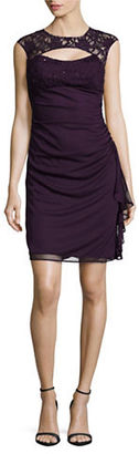 Betsy & Adam Cutout Lace-Accented Ruched Empire-Waist Dress $99 thestylecure.com