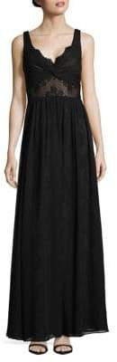 Vera Wang Sleeveless Lace Chiffon Floor-Length Dress