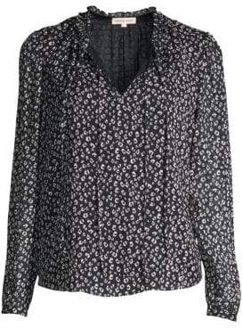 Rebecca Taylor Silk-Blend Cheetah Print Blouse