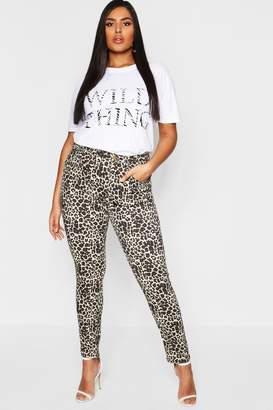 boohoo Plus Leopard Print Stretch Skinny Jean