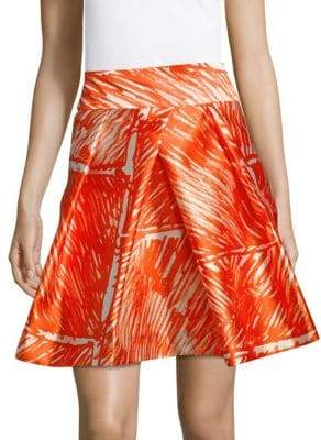 Milly Abstract Pleated Skirt