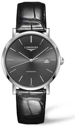 Longines Elegant Automatic Leather Strap Watch, 39mm
