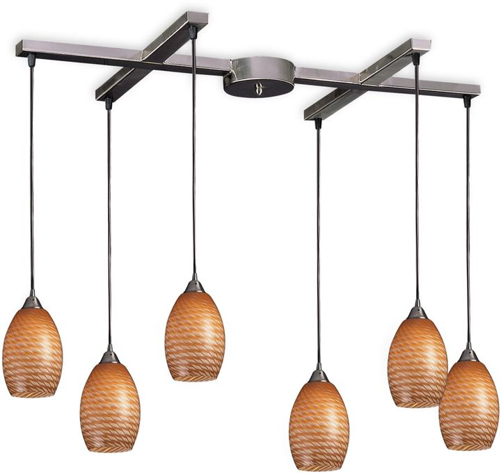 Bed Bath & Beyond ELK Lighting Mulinello 6-Light Pendant with Coco Glass