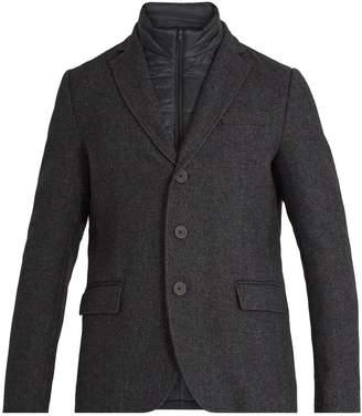 Detachable-placket single-breasted wool coat