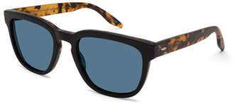 Barton Perreira Men's Coltrane Square Acetate Sunglasses, Black/Tortoiseshell