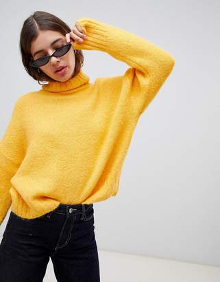Weekday Roll Neck Jumper in Yellow