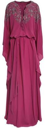 Roberto Cavalli Draped Bead-Embellished Silk Crepe De Chine Gown