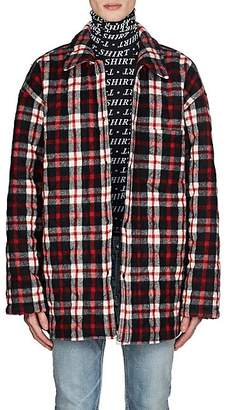 Balenciaga Men's Checked Wool-Blend Oversized Shirt Jacket - Red