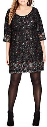 City Chic Plus Floral-and-Lace Dress