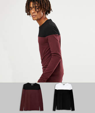 Asos DESIGN muscle fit long sleeve t-shirt with contrast yoke 2 pack SAVE