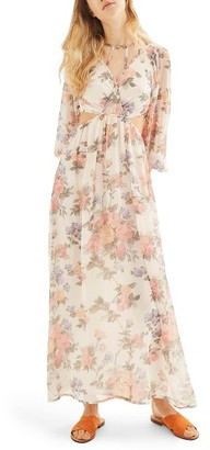 Topshop Women's Crinkle Floral Maxi Dress