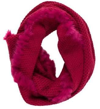 La Fiorentina Knit Fur-Trimmed Scarf w/ Tags