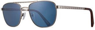 Ermenegildo Zegna Titanium Double-Bar Aviator Sunglasses, Silver $495 thestylecure.com