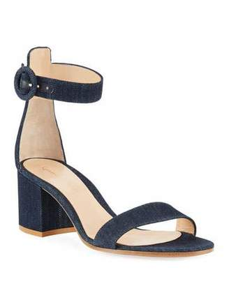 Gianvito Rossi Denim Block-Heel Ankle-Strap Sandals