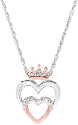 Two Hearts Forever One Two Tone Sterling Silver Diamond Accent Double Heart Pendant Necklace