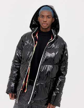 Collusion COLLUSION high shine hooded puffer jacket