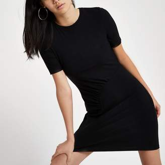 River Island Womens Black ruched bodycon mini dress