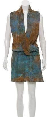 Black Crane Tie-Dye Surplice Dress