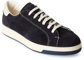 Doucal's Dark Blue Suede Low-Top Sneakers